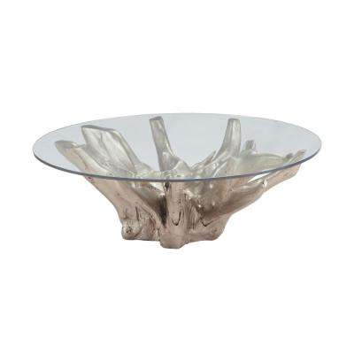 Champagne Gold Teak Root and Glass Coffee Table