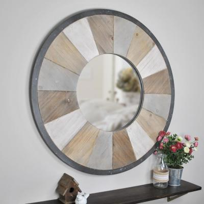 Medium Round Natural Wood Contemporary Mirror (31.50 in. H x 1 in. W)