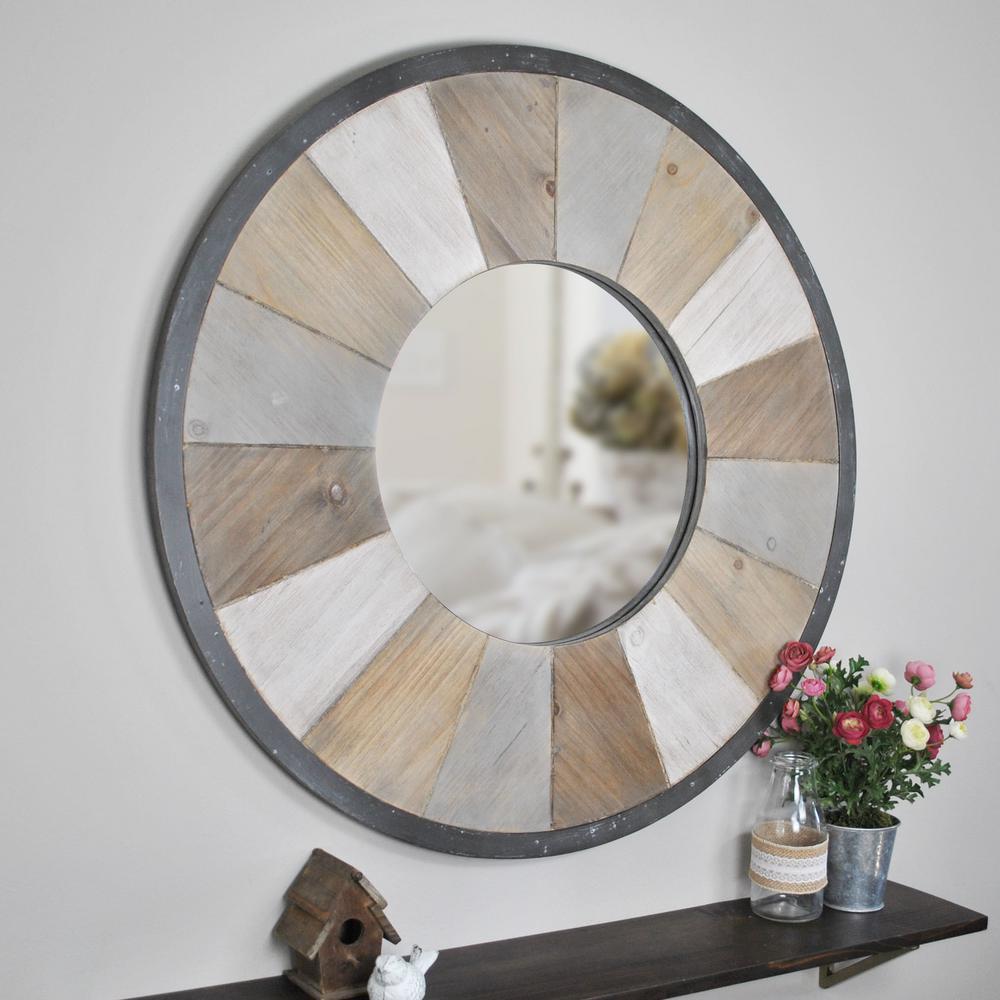 Adler Rustic Wood Decorative Mirror