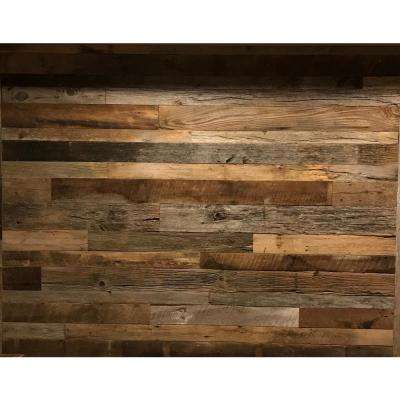 3/8 in. x 4 ft. Random Width 3 in. - 5 in.,10.59 sq. ft. Brown/Grey Barnwood Planks Decorative Wall Panel
