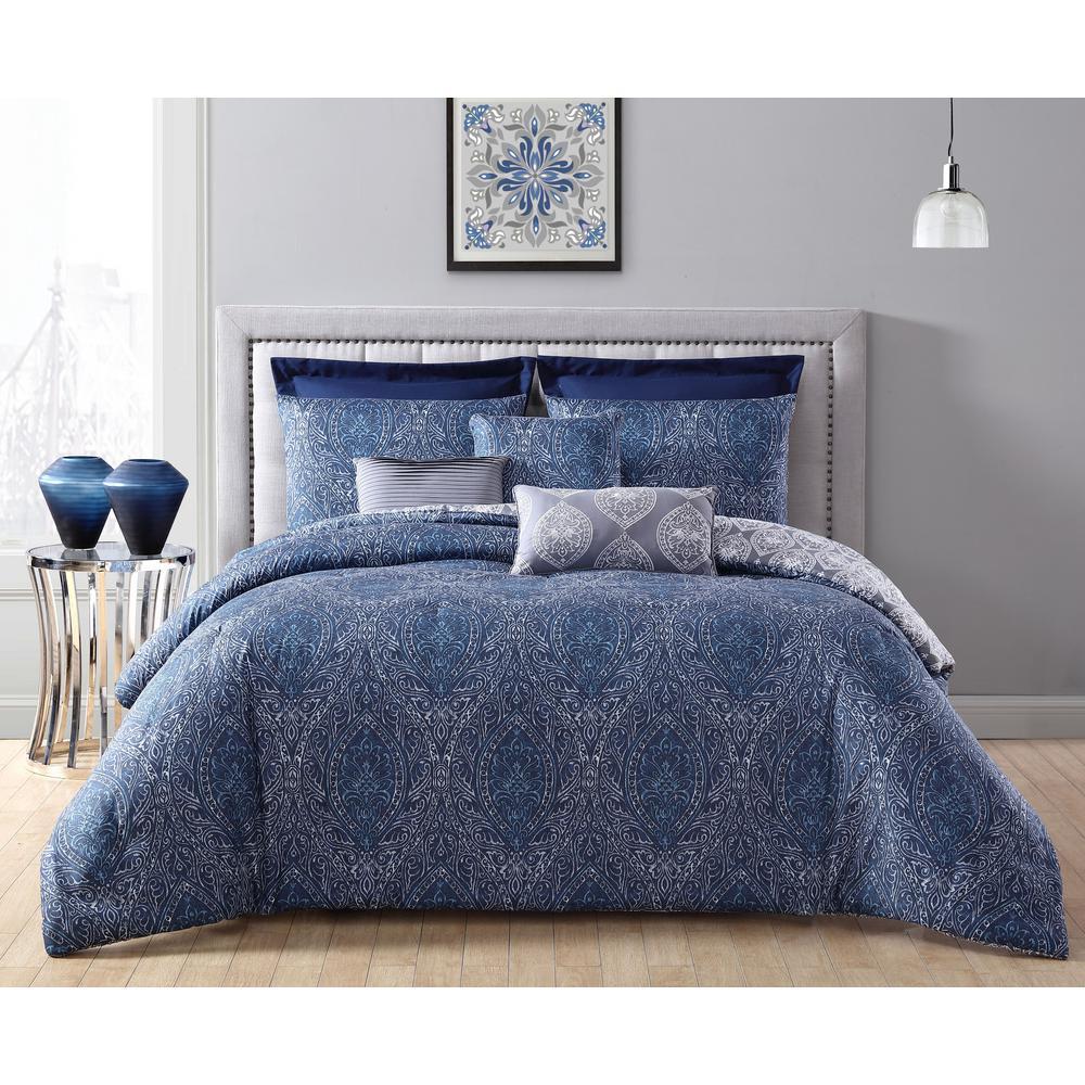 Addison House Candice 8 Piece Navy Queen Comforter Set