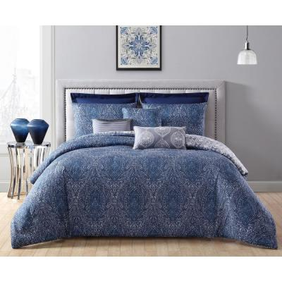 Candice 8-Piece Navy Blue Queen Comforter Set with Euro Shams