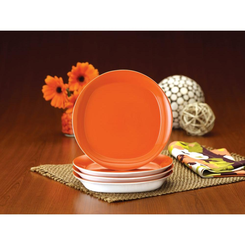 Rachael Ray Round and Square 4-Piece Salad Plate Set in Tangerine