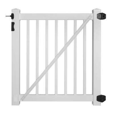 Phoenix 4 ft. W x 4 ft. H Vinyl Pool Fence Gate EZ Pack