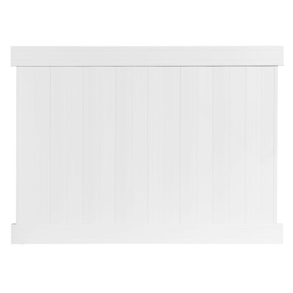 6 ft. H x 8 ft. W Fairfax White Vinyl Privacy Fence Panel