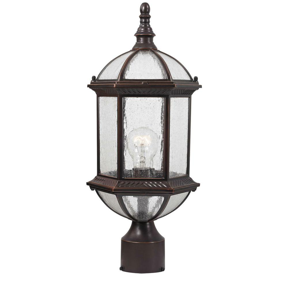 Design Traditional Wall-Mount 19 in. Outdoor Old Bronze Post Light with Clear Seedy Glass Shade