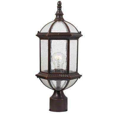Traditional Wall-Mount 19 in. Outdoor Old Bronze Post Light with Clear Seedy Glass Shade