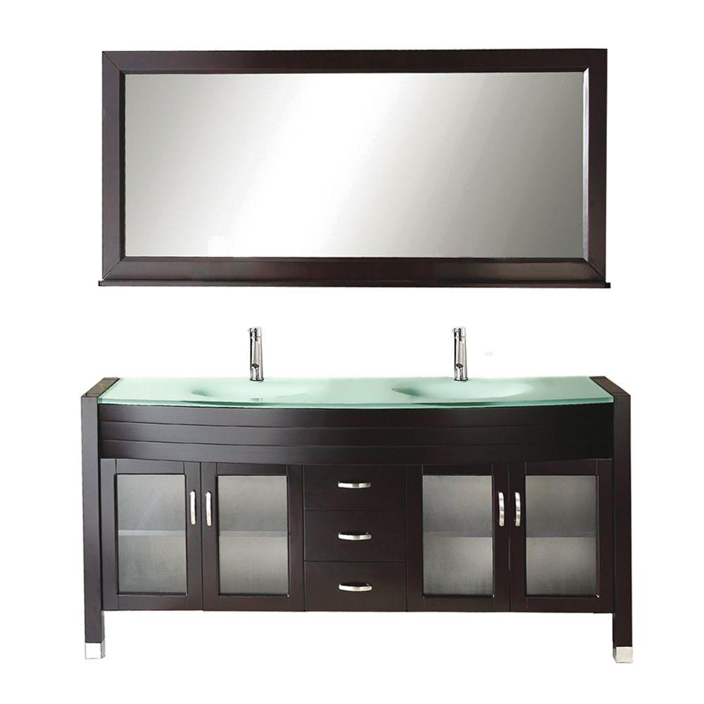 Virtu USA Ava 71 in. W Bath Vanity in Espresso with Glass Vanity Top ...