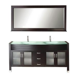 Virtu USA Ava 71 inch Double Basin Vanity in Espresso with Glass Vanity Top in Aqua and Mirror by Virtu USA