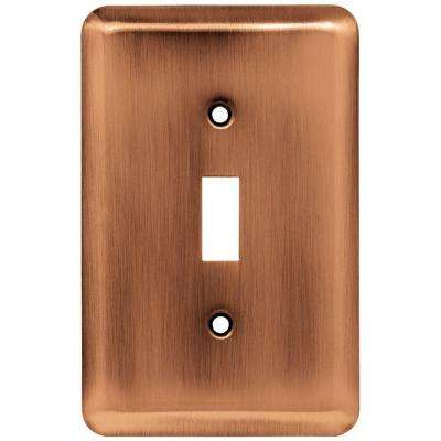 Stamped Round Decorative Single Switch Plate, Antique Copper