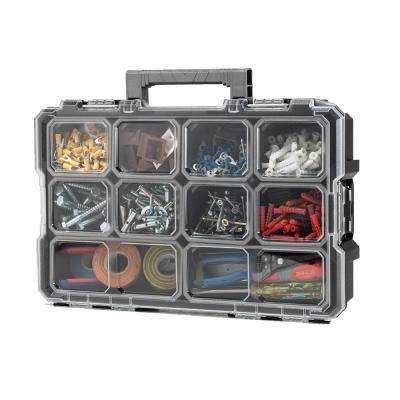 10-Compartment Interlocking Small Parts Organizer in Black