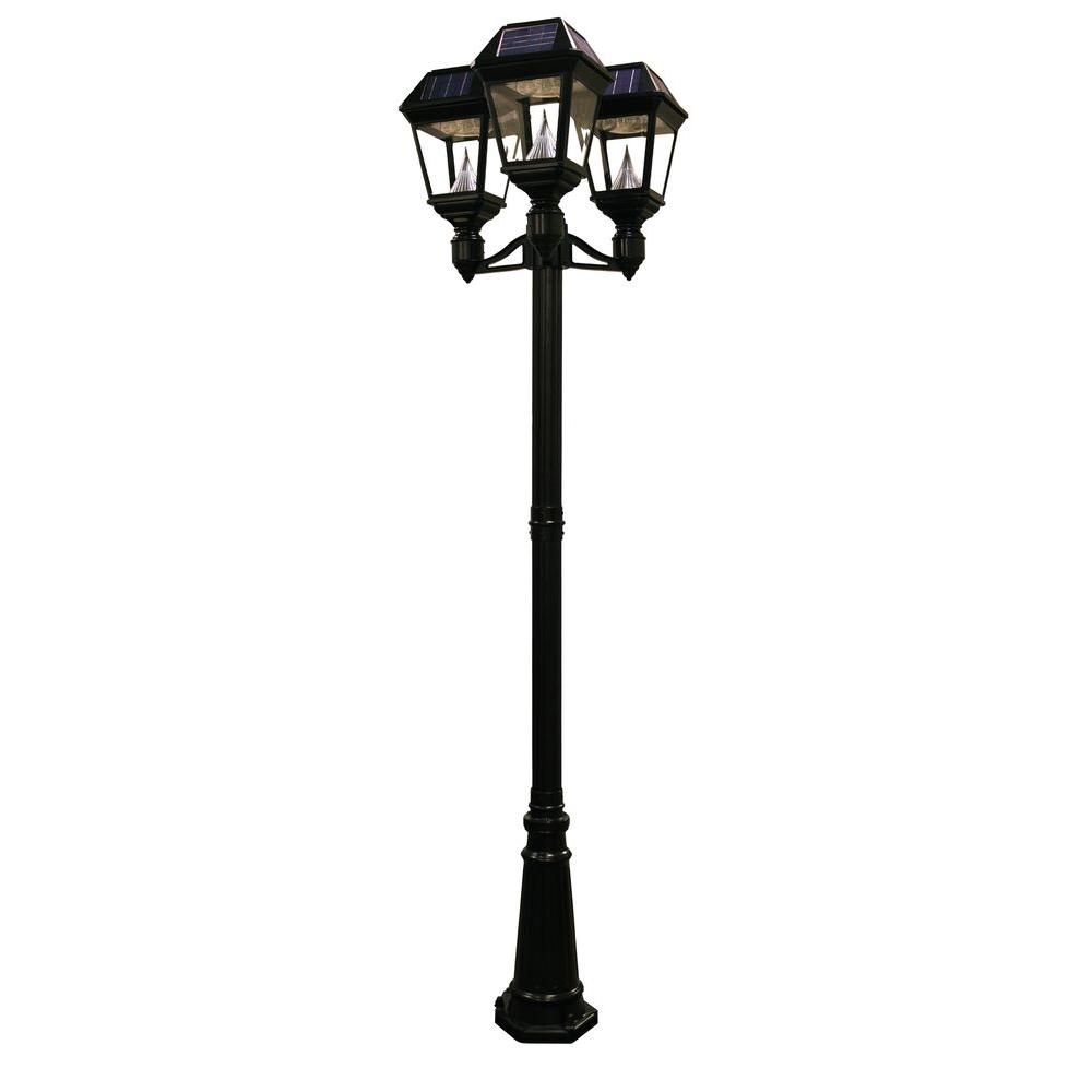 4 Foot Outdoor Solar Powered Lamp Post With: Gama Sonic Imperial II 3-Head Solar Black Outdoor