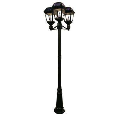 Imperial II 3-Head Solar Black Outdoor Integrated LED Lamp Post with 21 Bright White LEDs per Lamp Head