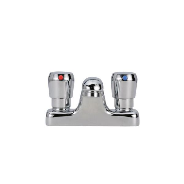 AquaSpec Single-Handle Metering Utility Faucet with Push-Button Handles in Chrome