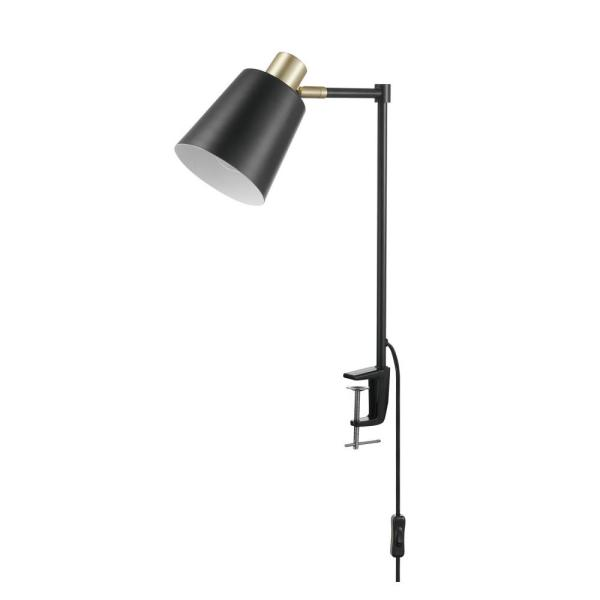 Lex 19 in. Black with Gold Accents Clamp-On Desk Lamp