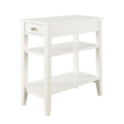 American Heritage White Three Tier End Table with Drawer
