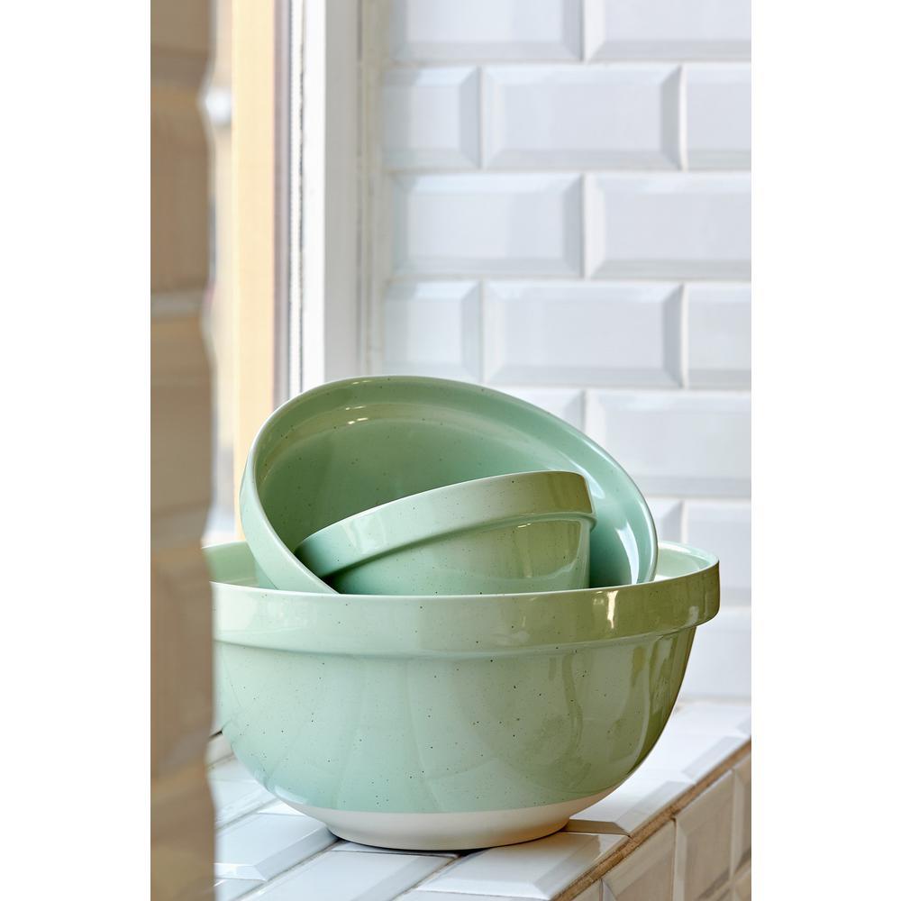 Fattoria 12.25 in. 211 fl. oz. Green Ceramic Stoneware Serving Bowl