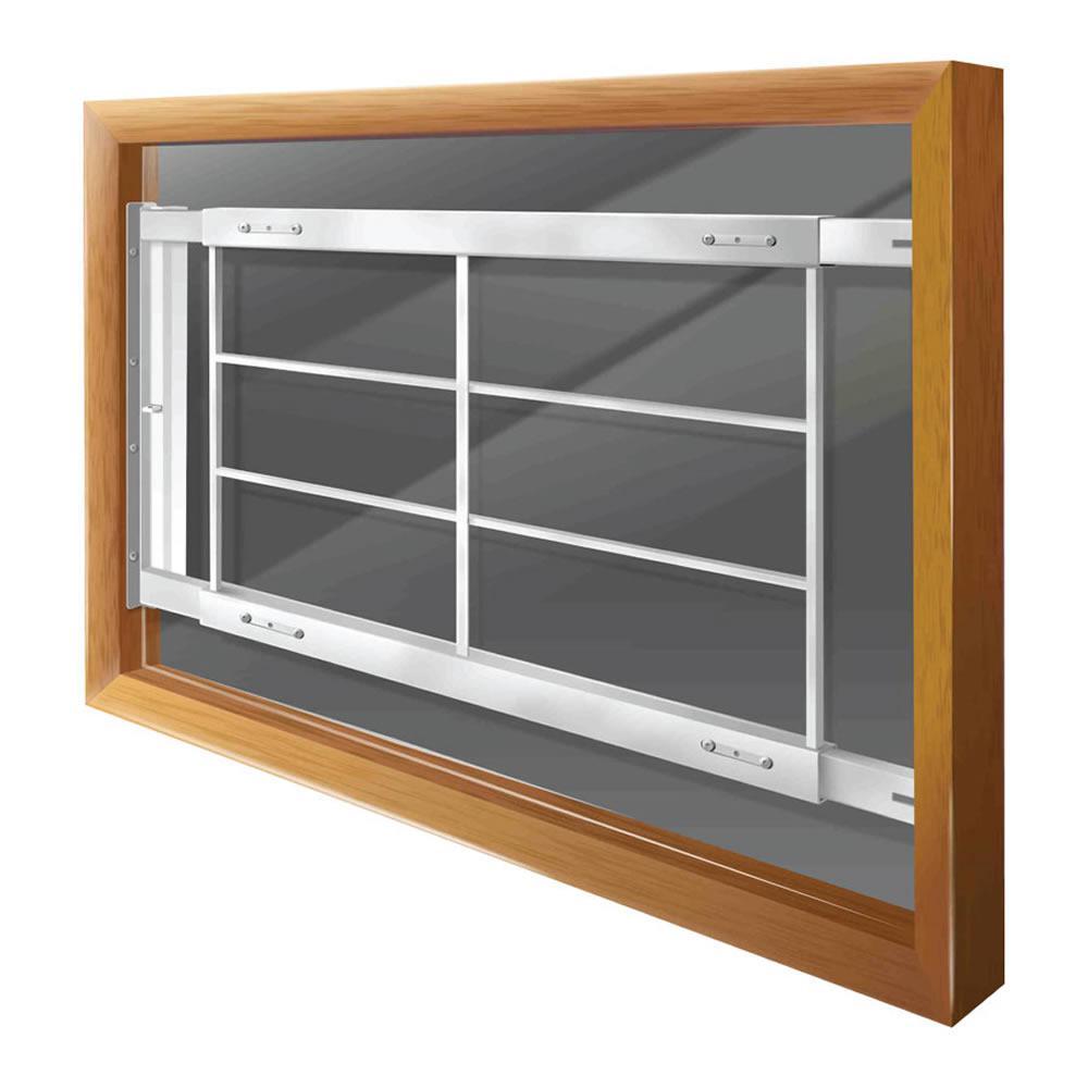 Swing-Away 52 in. to 64 in. Adjustable Width 4-Bar Window Guard, White