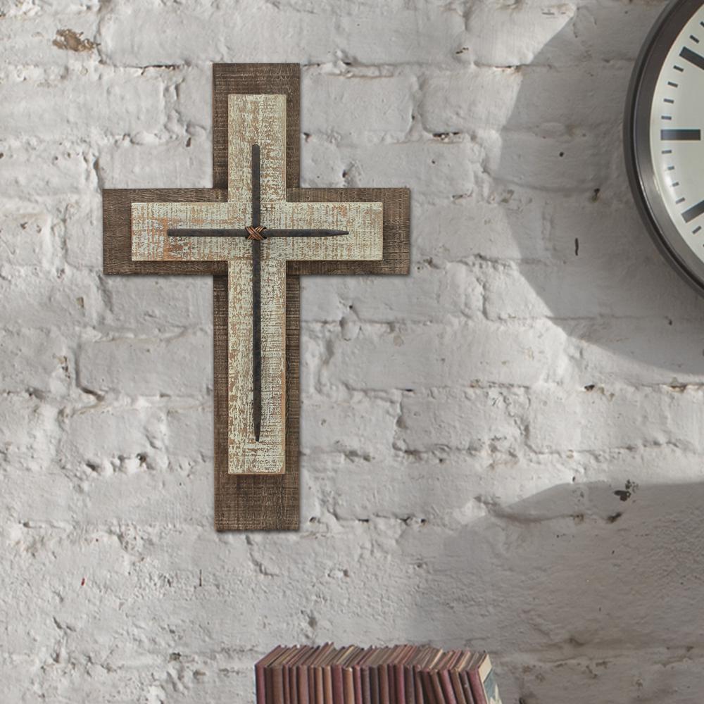 Wood carved wall cross 10 х 6 in Dark Wood