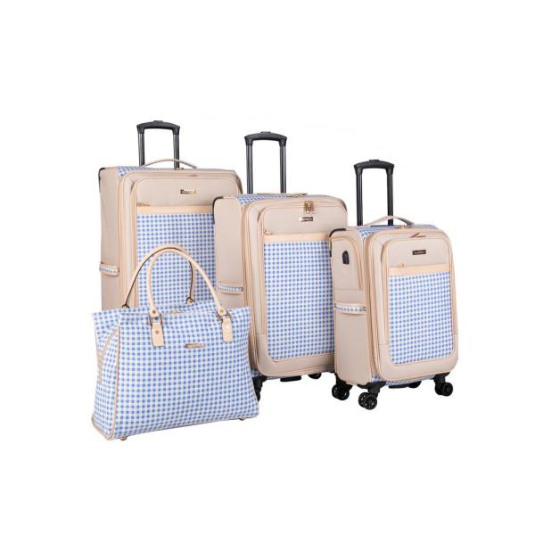 Isaac Mizrahi Greenwich 4-Piece Spinner Luggage Set in Blue Gingham