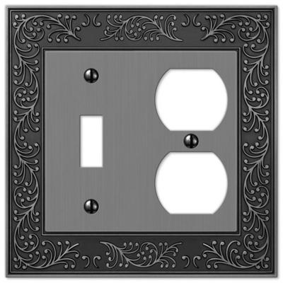 Bleinhem 2 Gang 1-Toggle and 1-Duplex Metal Wall Plate - Antique Nickel