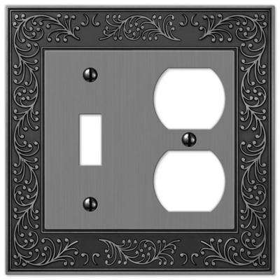 English Garden 1 Toggle and 1 Duplex Wall Plate - Antique Nickel
