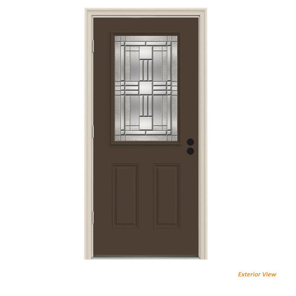 JELD-WEN 32 in. x 80 in. 1/2 Lite Cordova Dark Chocolate Painted Steel Prehung Right-Hand Outswing Front Door w/Brickmould