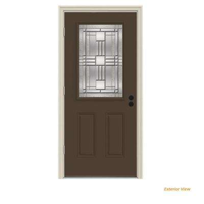 32 in. x 80 in. 1/2 Lite Cordova Dark Chocolate Painted Steel Prehung Right-Hand Outswing Front Door w/Brickmould