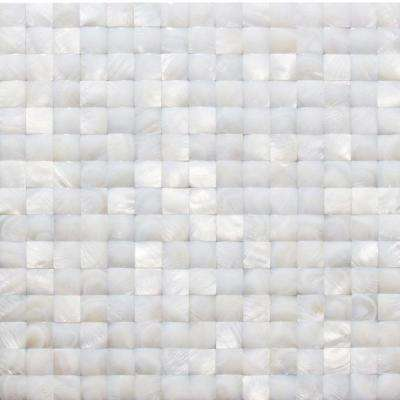 Mother of Pearl White 3D Pearl Shell Mosaic Floor and Wall Tile - 3 in. x 6 in. Tile Sample