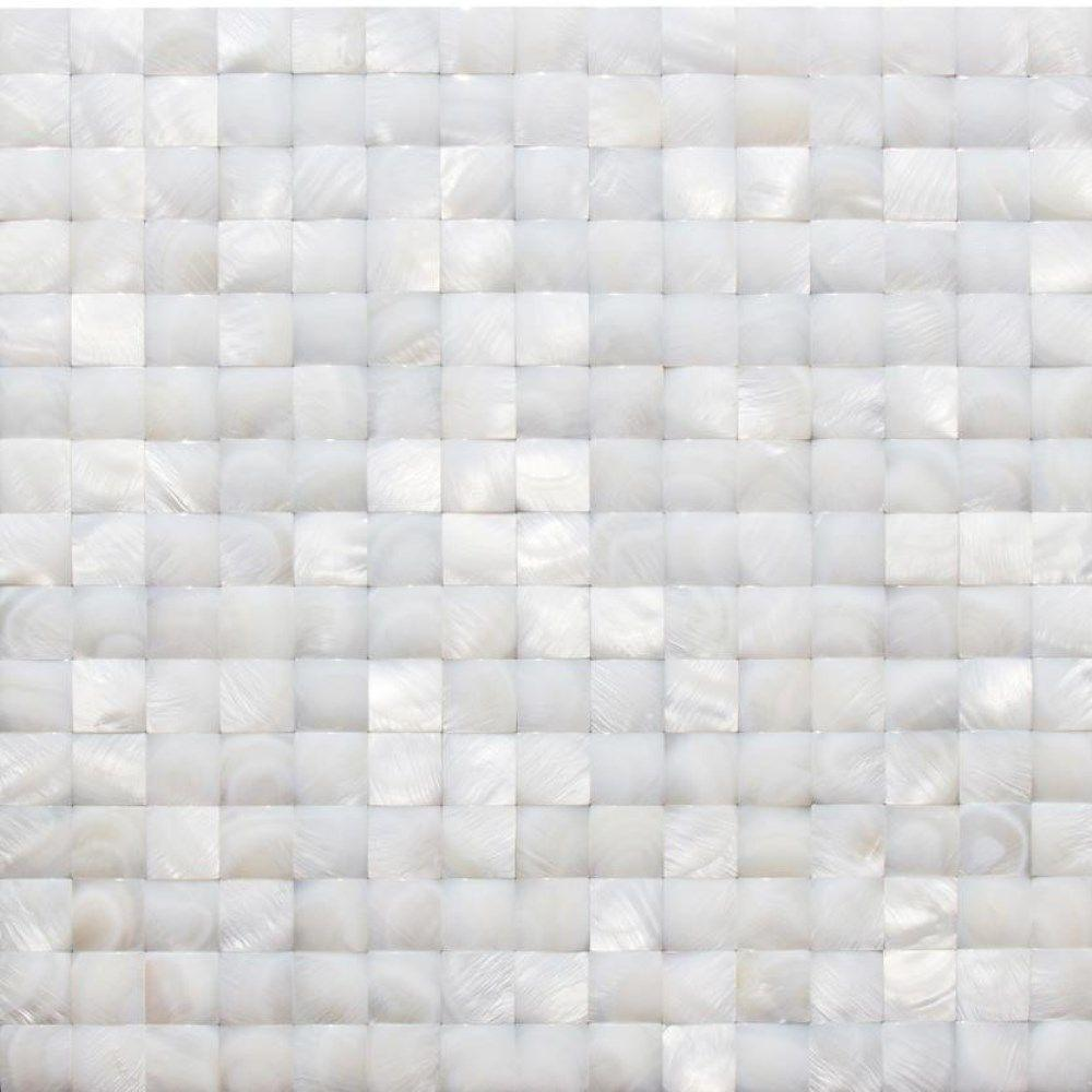 splashback tile mother of pearl white 3d pearl shell mosaic floor and wall tile 3 in x 6 in. Black Bedroom Furniture Sets. Home Design Ideas