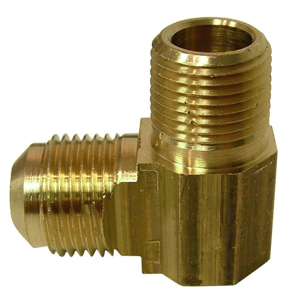 Everbilt 3/8 in. FL x 3/8 in. MIP Lead-Free Brass Flare 90-Degree Elbow