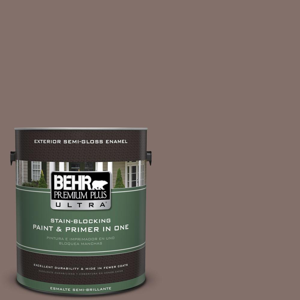 BEHR Premium Plus Ultra 1-gal. #740B-5 Bradford Brown Semi-Gloss Enamel Exterior Paint