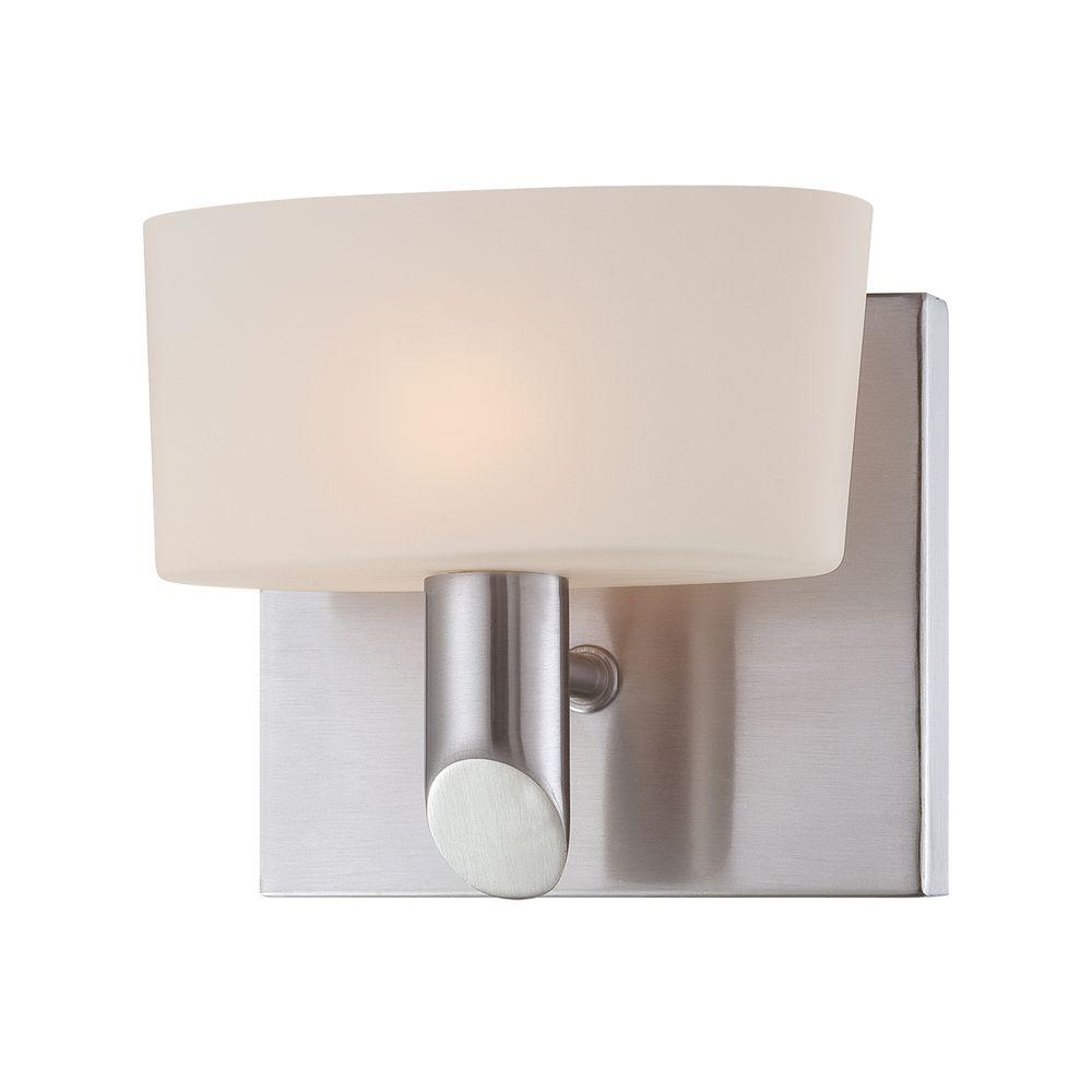 Toby 1-Light Satin Nickel Vanity Light with White Opal Glass