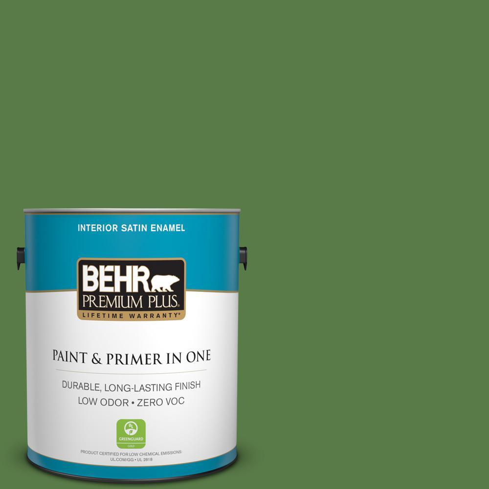 BEHR Premium Plus 1-gal. #440D-6 Grassy Field Zero VOC Satin Enamel Interior Paint