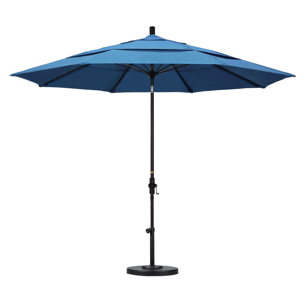11 ft. Fiberglass Collar Tilt Double Vented Patio Umbrella in Capri