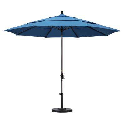 11 ft. Fiberglass Collar Tilt Double Vented Patio Umbrella in Capri Pacifica