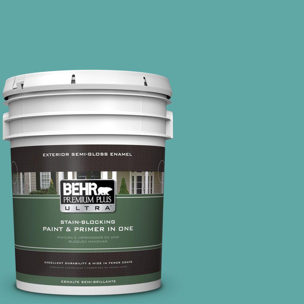 5-gal. #500D-5 Teal Zeal Semi-Gloss Enamel Exterior Paint