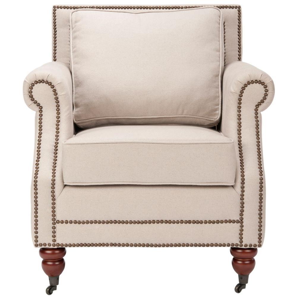 Karsen Taupe/Dark Cherry Finish Cotton Blend Arm Chair