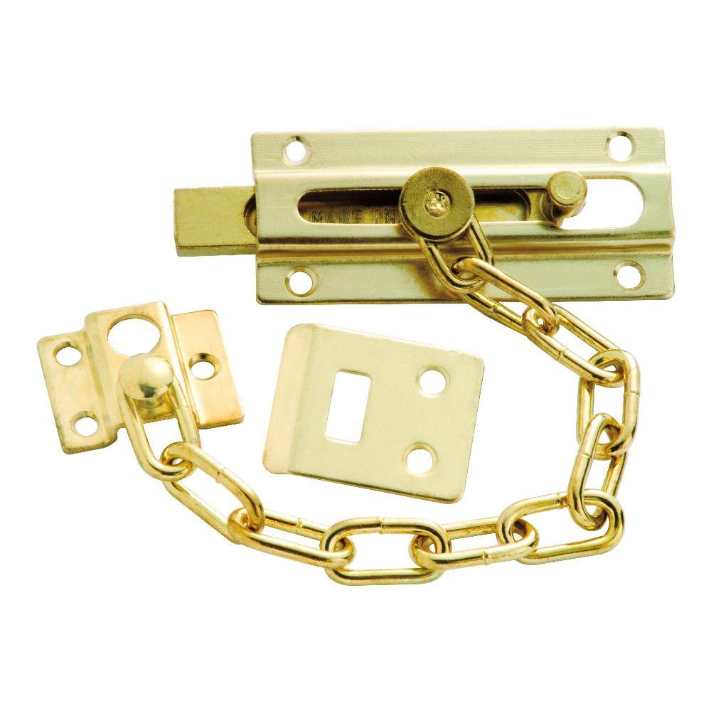 Polished Brass Chain and Bolt Door Guard