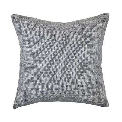 Navy Intricate Geometric Woven Throw Pillow
