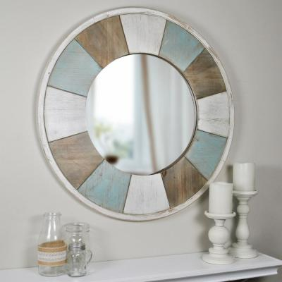Medium Round Aged Teal Shabby White Natural Wood French Provincial Mirror (27 in. H x 2 in. W)