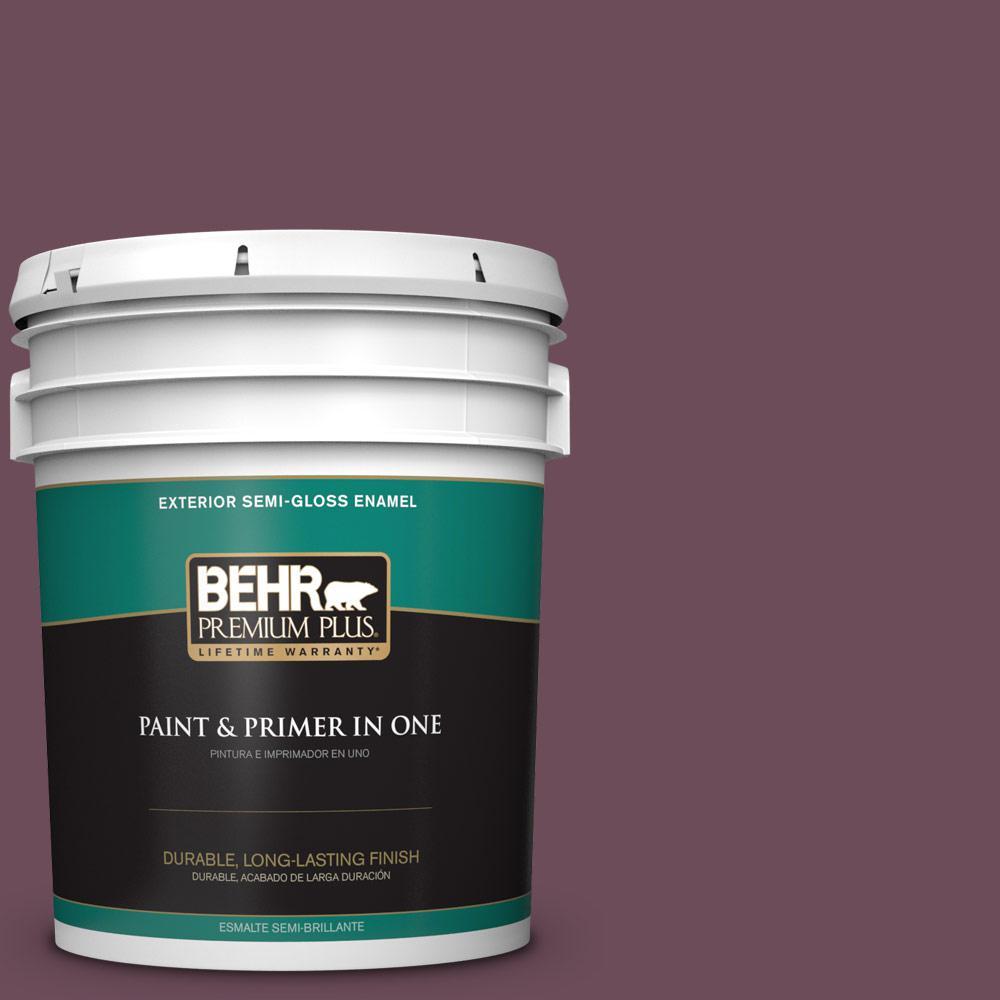 5 gal. #PPU1-20 Spiced Plum Semi-Gloss Enamel Exterior Paint