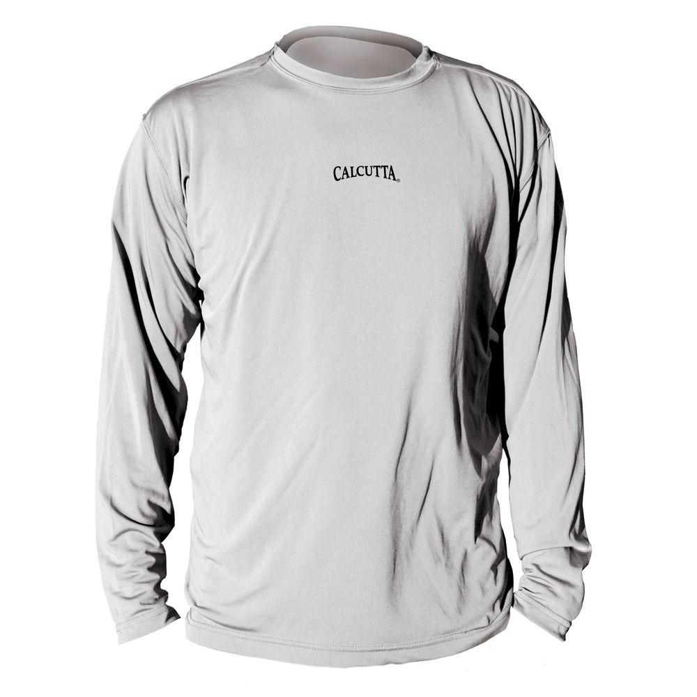 Calcutta Extra Large Synthetic Fiber Performance Moisture System Long Sleeve Men's Logo T-Shirt in Grey-DISCONTINUED