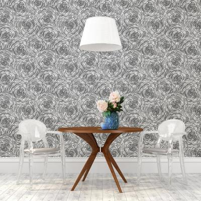 Celestial Black Floral Paper Strippable Roll Wallpaper (Covers 56.4 sq. ft.)