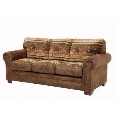 Wild Horses Brown Microfiber and Tapestry Pattern with Nail-Head accents Sleeper Sofa.