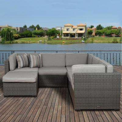 Bellagio Grey 6-Piece Wicker Outdoor Sectional with Sunbrella Grey Cushions