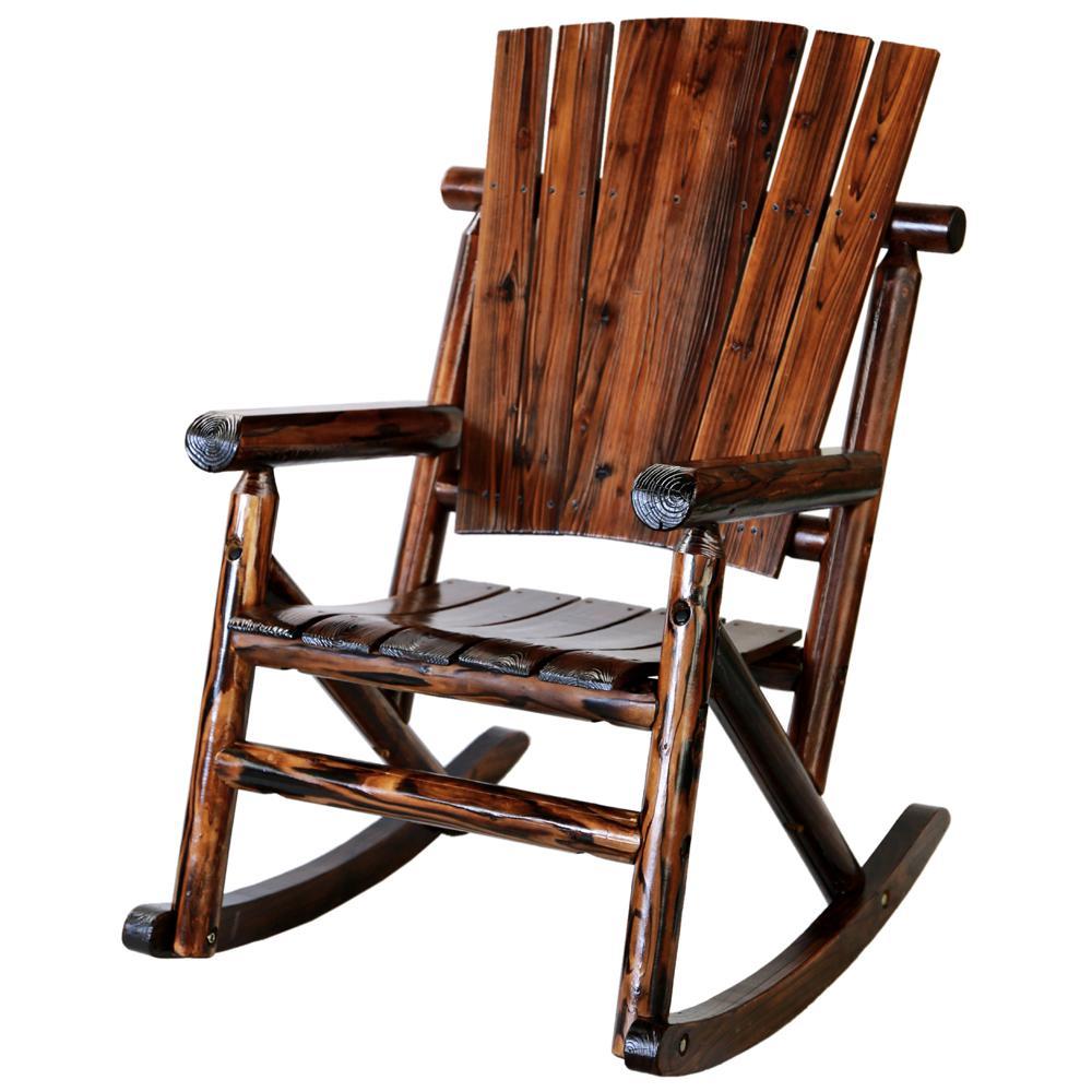 Char Log Wood Outdoor Rocking Chair