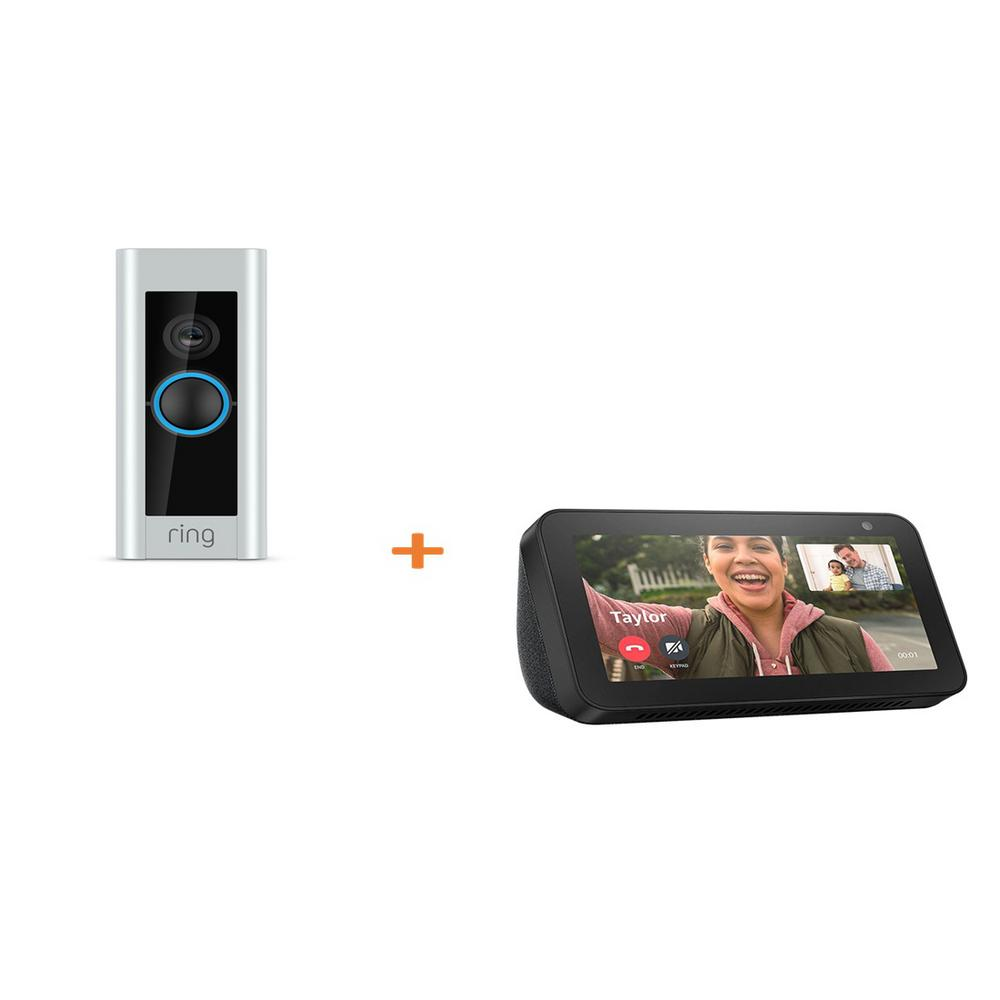 Amazon 1080P HD WiFi Video Wired Smart Door Bell Pro Camera, Smart Home, Works with Alexa with Echo Show 5- Sandstone, Satin Nickel