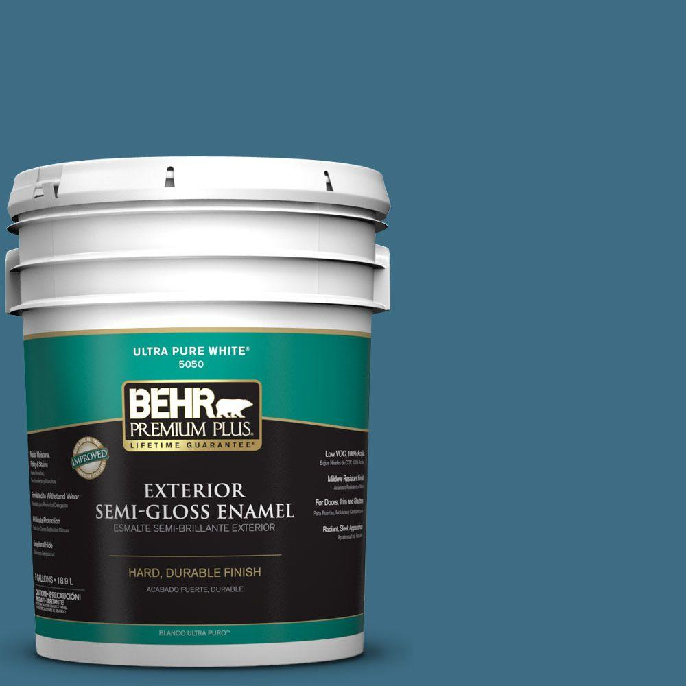 BEHR Premium Plus 5-gal. #S490-6 Bering Wave Semi-Gloss Enamel Exterior Paint