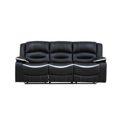 Broderick Ebony and Cream PU Sofa Bed